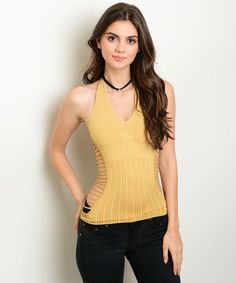 Sexy Tan Cut out sides seamless Stretchy Halter cleavage top Punk party Tank top #Shopjaded #Halter #Clubwear