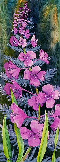 Fireweed Solitaire. Watercolor, 15 x 44 Teresa Ascone
