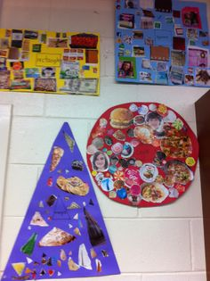 Real life examples of 2D shapes. Math center! Cut out the huge paper and set out magazines and scissors.