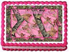 Pink Camo Baby Shower Cakes | PINK CAMO OAK Mossy Edible image frosting cake topper decoration
