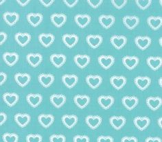 MODA FIRST ROMANCE 100% cotton fabric by the yard - Blue Eyes - aqua - hearts #ModaFabrics