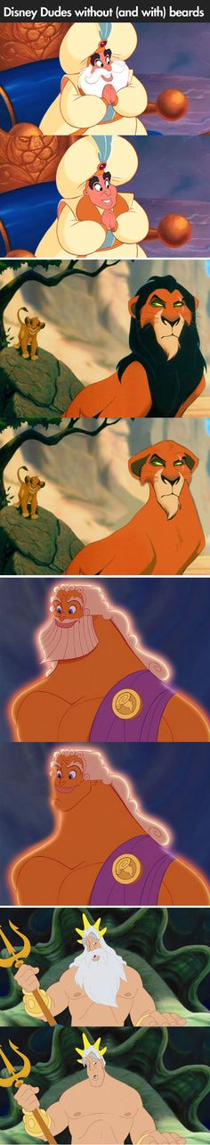 Disney characters with/out beards lol, that moment when you see that beards actually add a lot of character. :P