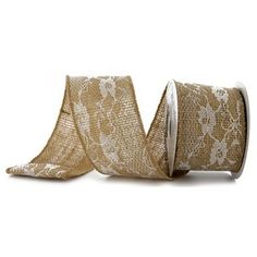 """2 1/2"""" Burlap with Lace Wired Edge Ribbon is perfect for coordinating your elegant wedding colors together. Made of burlap, this ribbon can be used in all creative aspects of your wedding planning like reception decor, table centerpieces, and bouquets. Make your wedding a happy wedding!        Ribbon Details:      Spool Length: 5 Yards    Ribbon Width: 2 1/2""""    Color: Burlap    Ribbon Type: Wired Edge"""