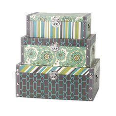 This set of three nesting storage trunks from the Essentials by Connie Post collection boast style and grace. Use for storage, use for color, but most importantly add reflective color and coordinated pattern to any space.