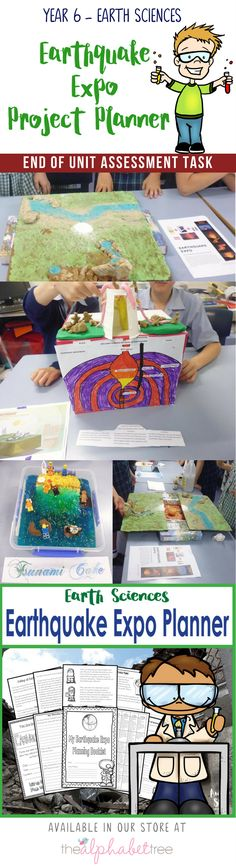 Year 6 Science - Earth Sciences - Earthquake Expo Project Planner - The Alphabet Tree Science Crafts, Science Humor, Science Fair Projects, Science Experiments Kids, Science Books, Science Ideas, Matter Activities, Project Planner, Primary Education