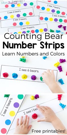 Math 6 This counting bears activity goes perfectly with the book Brown Bear Brown Bear What Do You See? While playing children will learn numbers and colors. They are perfect for toddlers and preschoolers and would be a great addition to a math center! Numbers Preschool, Learning Numbers, Math Numbers, Preschool Classroom, Preschool Learning, Kindergarten Math, Teaching Math, Preschool Activities, Brown Bear Activities