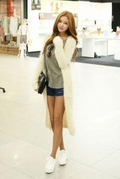 Long Knit Furry Open Cardigan