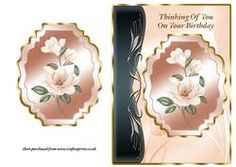 Coral Magnolias Art Nouveau Card Front - Birthday