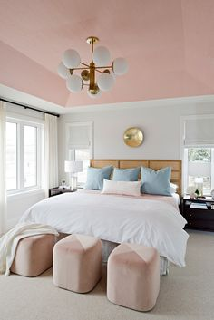 Pretty in Pink Master Bedroom— Rebecca Hay Designs Inc. bedroom wallpaper Pretty in Pink Master Pink Master Bedroom, Pink Bedrooms, Pretty Bedroom, Pink Wallpaper For Bedroom, Bedroom Ceiling Wallpaper, Dado Rail Bedroom, Picture Rail Bedroom, Blush Bedroom, Shabby Bedroom