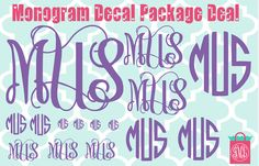 This listing is for a Monogram Decal Package Deal. It includes 1 - 4in vine monogram 1 - 3in circle monogram 2 - 2in vine monograms 2 - 2in circle monograms 3 - 1in vine monograms 2 - 1in circle monograms 4 - 1/2in circle monograms  The inches are in height. Thats over a $25.00 value! You may put 1 color.  You will also receive a clear transfer sticker to help you place your new decals. Thanks for looking & dont for get to check my shop for more monogrammed items