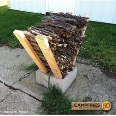 40 Ways To Use Cinder Blocks At Home . Use cinder blocks as an impromptu firewood storage solution. Simply place some long two by fours on either side of two cinder block placed side-by-side, and stack your firewood in between them.