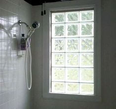 Patterns and designs in glass blocks help provide added privacy for areas like bathrooms. (Photo courtesy of Lesley Granger) Bathroom Feature Wall, Brick Bathroom, Bathroom Windows, Laundry In Bathroom, Master Bathroom, Bathroom Ideas, Glass Blocks Wall, Window Blocks, Glass Block Windows
