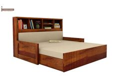 Buy Savannah Sofa Cum Bed With Storage (King Size, Honey Finish) Online in India - Wooden Street Wooden Street, Home Bar Designs, Beds Online, Living Room Paint, Bed Storage, King Size, Bunk Beds, Savannah Chat, It Is Finished