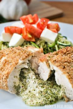 Lemon Mint Pesto and Mozzarella Stuffed Chicken with Zoodles ...healthy and easy for any family meal or entertaining!  https://beckysbestbites.com/lemon-mint-pesto-mozzarella-stuffed-chicken/?utm_campaign=coschedule&utm_source=pinterest&utm_medium=Becky%27s%20Best%20Bites&utm_content=Lemon%20Mint%20Pesto%20and%20Mozzarella%20Stuffed%20Chicken%20with%20Zoodles #LooksFancy #OoeyGooeyCheese