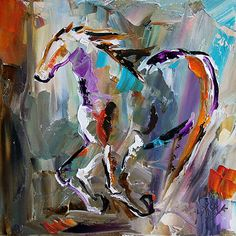 Texas Contemporary Fine Artist Laurie Pace: White Stallion Galloping Horse Paintings by Texas Artist Laurie Pace