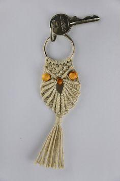 Macrame Owl Decoration for keys with keyring by MacrameSchool, €9.00
