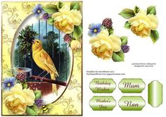 Vintage Singing Canary Beautiful Yellow Roses on Craftsuprint designed by Anne Lever - features the vintage image of a fabulous singing canary; embellished with beautiful yellow roses.