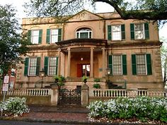 The Owens-Thomas House, Savannah, Georgia, is located on the northeast corner of Oglethorpe Square. This most important & architecturally significant house was built 1816 - 1819. Designed by the English architect William Jay of Bath; the house plans were drawn while Jay was still in England; sending architectural elevations to local formans before his arrival in Savannah sometime after foundations were laid. It is North America's preeminent example of period English Regency architecture