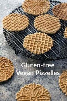 Vegan Pizzelles are beautiful thin cookies that delight your mouth with their crispness. Desserts Menu, Vegan Dessert Recipes, Vegan Sweets, Gluten Free Desserts, Vegan Gluten Free, Gluten Free Recipes, Gourmet Recipes, Cookie Recipes, Dinner Recipes