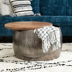 Drum Coffee Table, Coffee Table With Storage, Drum Table, Online Furniture Stores, Furniture Deals, Metal Drum, Blanket Storage, Sofa End Tables, Dining Tables