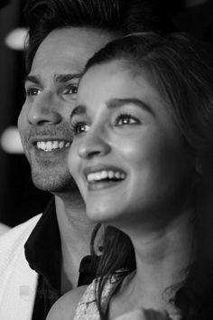 Varun dhawan with Alia Bollywood Images, Bollywood Couples, Bollywood Stars, Bollywood Celebrities, Bollywood Actress, Black And White Couples, Black N White, White Pic, Alia Bhatt Varun Dhawan