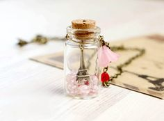 "Paris Bottle necklace - For traveler - ""From Paris with Love"""