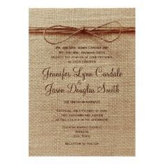 Burlap Print and Twine Bow Design Wedding Invitations - Rustic Country Wedding Invitations