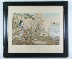 Early 19th Century Sporting Print, Pheasant Shooting.   Authentic early / mid 19th Century hand colour tinted print depicting two gentlemen hunting pheasants with their dogs.  Engraved by J Pollard after a drawing by Henry Alken