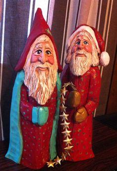Carved Santa: Just finished! Hand-carved old World Santas by Elizabeth Brown. CORNER CUT LAYOUT