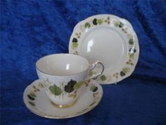 Royal Imperial Green Autumn Leaves  1  Trio (1 cup, 1 saucer, 1 plate) #CupsSaucers