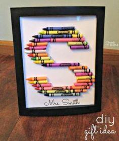 9 Kid-Friendly Gifts to Make for Teacher's Back to School: Framed Crayon Letter