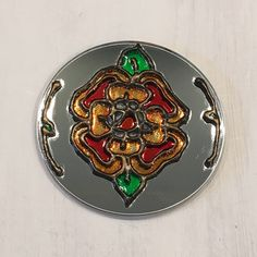 Tudor Rose 3 round mirror hand painted glass by SylviesSewCrafty