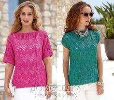 Летний вязаный топ Knitting Stitches, Knitting Patterns, Summer Knitting, Knit Shorts, Top Pattern, Pullover, Summer Tops, Crochet Top, Tunic Tops