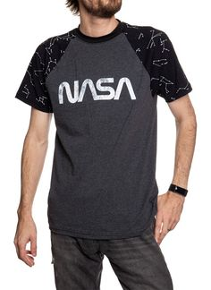 NASA Unisex's Glow in The Dark Raglan T-Shirt- Worm Logo Printing Press, Screen Printing, Spandex Fabric, Cotton Spandex, State Art, Nasa, The Darkest, Going Out, Unisex