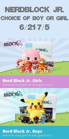 Nerd Block is a toy subscription box full of nerd-themed gear! One lucky reader is going to #win a Nerd Block Jr. box (for kids aged 6 to 11) - winner's choice of girls or boys! #Giveaway ends July 6 (12:59am).