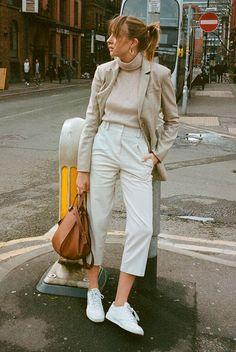 Beige blazer, beige turtleneck top, white crop pants, white sneakers, brown bag. Fashion 2018, spring fashion, spring style, spring outfit, casual spring outfit, casual outfit, blazer outfit, jeans outfit, fashion #blazer #springstyle #streetstyle #ss18 #fashion2018 #blazeroutfit #ootd #outfits #outfitideas #outfitinspiration #springfashion #casualstyle trends 2018, spring fashion trends 2018, street style. #fashion2018 #springstyle #ss18 #casualstyle #streetstyle #ootd #whatiwore #blazer…