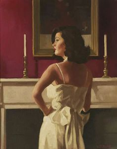 """The Drawing Room"" by Jack Vettriano. Original owned by actor Jack Nicholson. Jack Vettriano, The Singing Butler, Impressionist Paintings, Pulp Art, Pulp Fiction, Art Images, Vintage Art, Illustration, Pin Up"