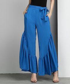 Blue Chiffon High-Waist Side-Ruffle Palazzo Pants