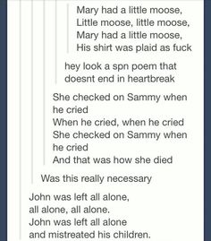 Supernatural poems. your argument is invalid.