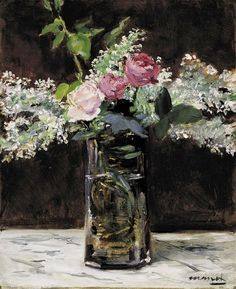 Édouard Manet | Vase of White Lilacs and Roses, 1883 | oil on canvas 54 x 45 cm Private Collection