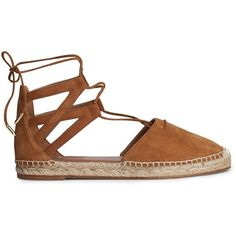 Aquazzura Belgravia Espadrilles ($290) ❤ liked on Polyvore featuring shoes, sandals, lace up espadrille flats, flat pumps, flat shoes, suede shoes and suede espadrilles