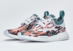 a07649da1 adidas NMD Primeknit Datamosh Red Glitch-the title gives away the colourway  that is red but red is also fused with black and blue on white.