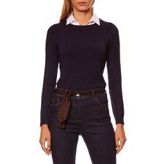 Caroll Pull 2 en 1 bleu marine pas cher prix Pull Femme Brandalley 80.00 € a426632f3a4