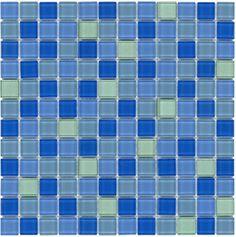 Mineral Tiles - Glass Mosaic Tile Backsplash Aquamarine Blend 1x1, $9.95 (http://www.mineraltiles.com/glass-mosaic-tile-backsplash-aquamarine-blend-1x1/)