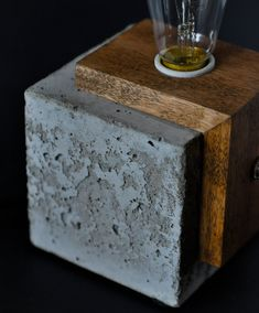 Handmade Cube Concrete Lamp.  Industrial concrete finish.