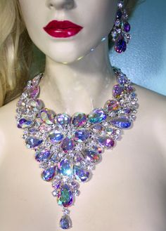 Large Breastshield Bib Necklace Rhinestone by BizarreJewels