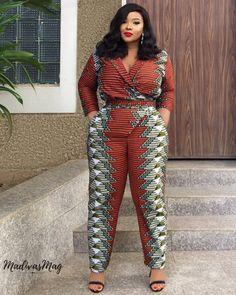 Beautiful classy and chic ankara styles for plus size sexy ladies, classy plus size jumpsuit styles for chics #plussizefashion #ankara #ankarastyles #asoebi #asoebibella #plussize