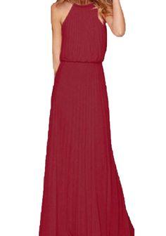 a0adae49710 Winwinus Womens Chiffon Smocked Waist High Neck Solid Colored Maxi Long  Dress Wine Red M