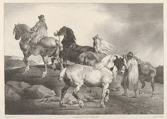 Théodore Gericault (French, 1791–1824). Horses Driven to a Fair, 1822. The…