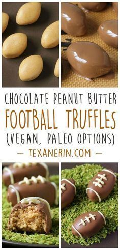 These chocolate peanut butter football truffles are made a little healthier in this gluten-free and grain-free version! With paleo, vegan, and dairy-free options.